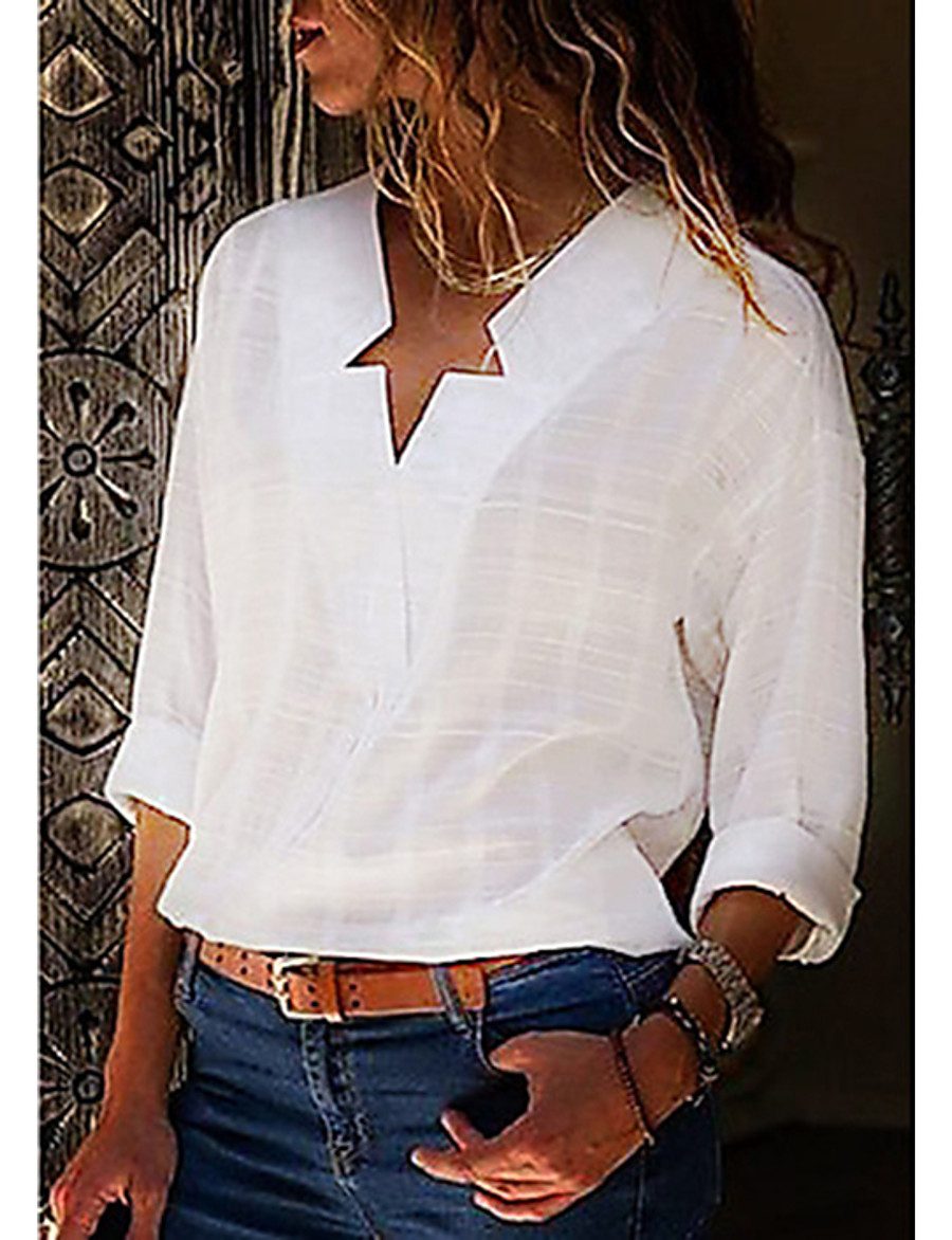Women's Plus Size Solid Colored Shirt - Cotton Street chic Daily V Neck White / Black / Blue / Blushing Pink / Gray / Light Blue