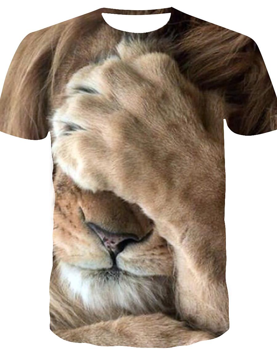 Men's T shirt Shirt 3D Print Graphic Tiger Animal Print Short Sleeve Daily Tops Streetwear Punk & Gothic Round Neck Yellow / Summer / Club