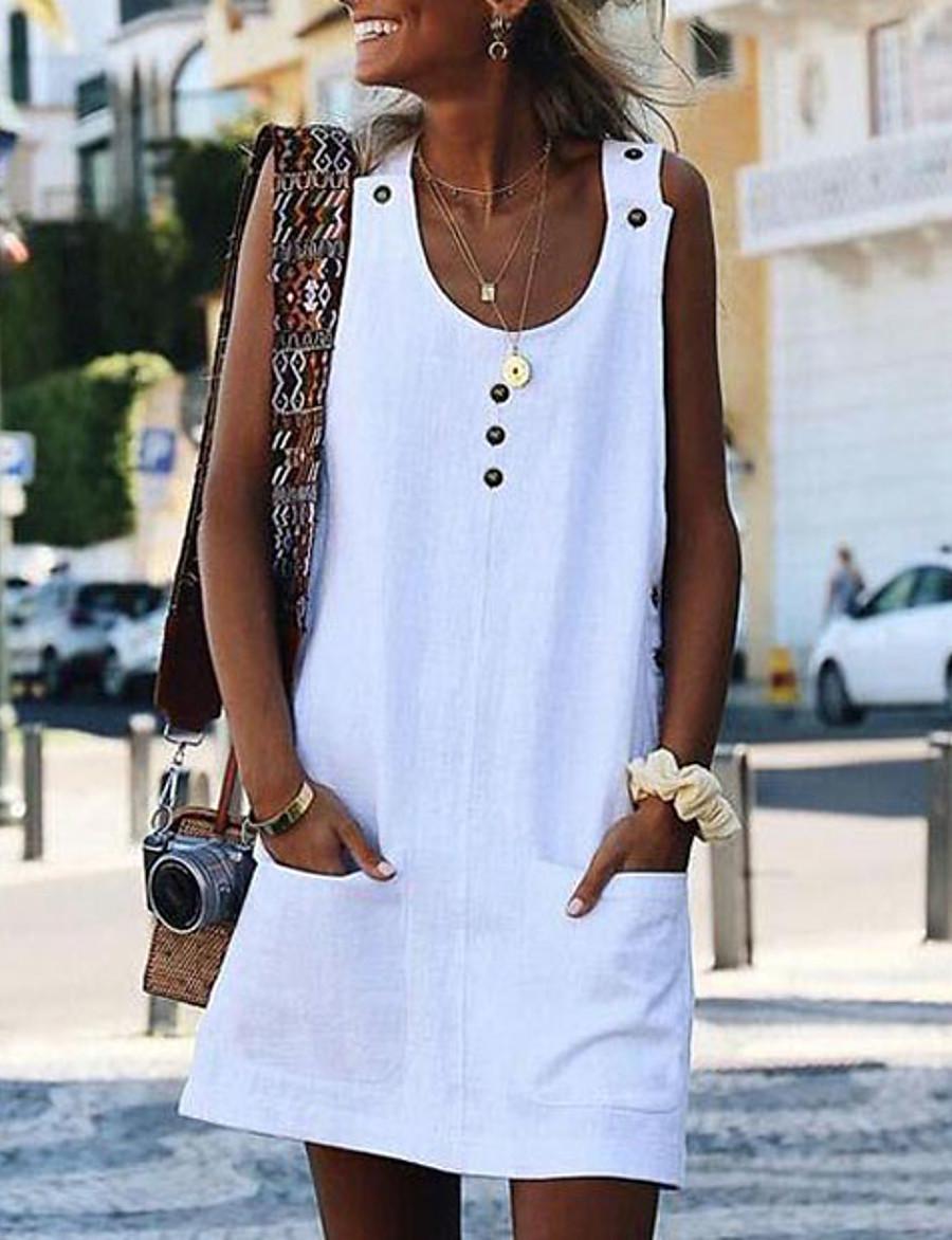 Women's Shift Dress Short Mini Dress - Sleeveless Pocket Summer Plus Size Casual Beach White Blue Yellow Fuchsia Orange Light Blue S M L XL XXL 3XL 4XL 5XL