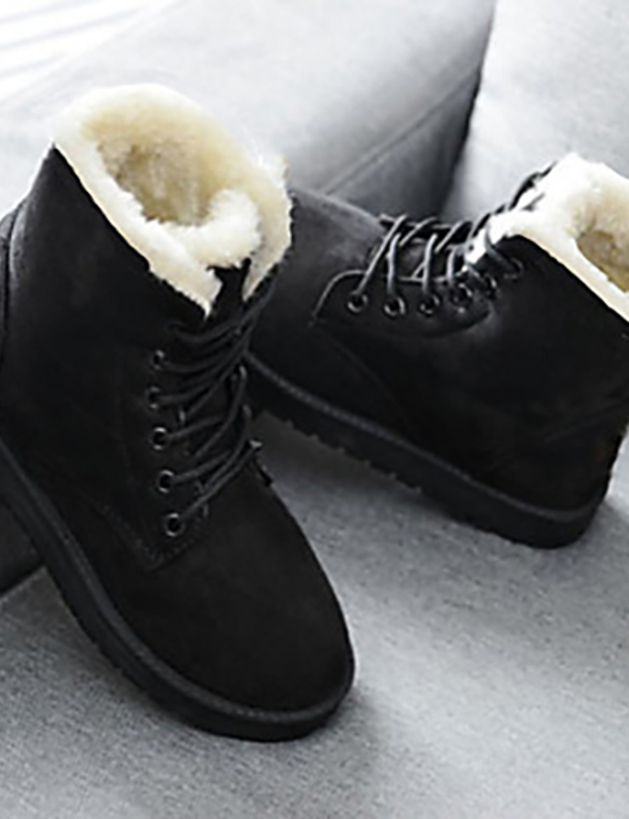 Women's Boots Snow Boots Creepers Round Toe PU Mid-Calf Boots Winter Black / Red / Beige