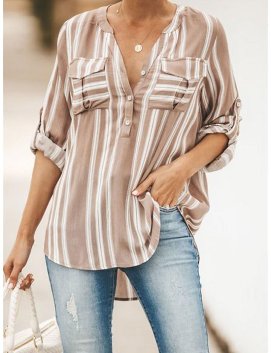 Women's Striped Shirt Daily V Neck Yellow / Orange / Brown