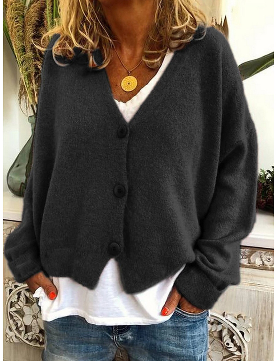 Women's Solid Colored Cardigan Long Sleeve Sweater Cardigans V Neck Black Orange Green
