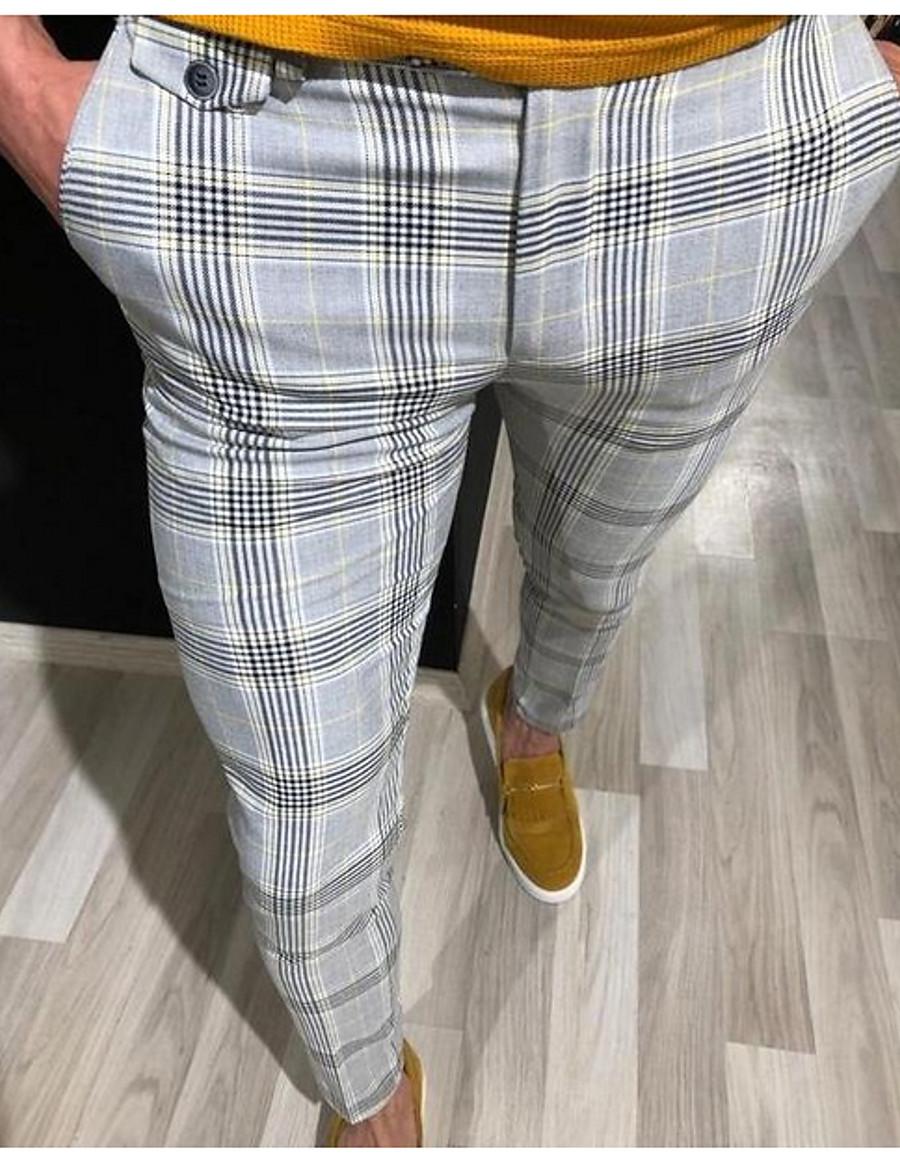 Men's Basic Suits Pants - Striped Yellow Red Gray US36 / UK36 / EU44 US38 / UK38 / EU46 US40 / UK40 / EU48