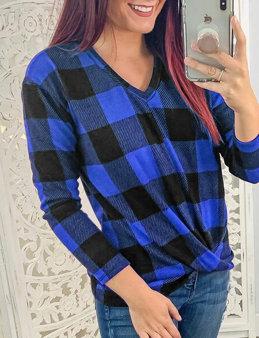 Women's Daily Going out Basic T-shirt - Plaid Blue, Print Light Blue