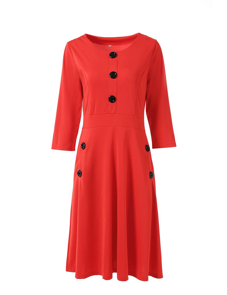 Women's Daily Wear Work Basic Elegant A Line Dress - Solid Colored Blue Red, Patchwork Black Purple Blue S M L XL
