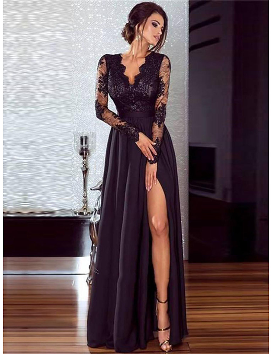 Women's 1920s Maxi Flapper Dress - Solid Colored The Great Gatsby Deep V Lace Black S M L XL