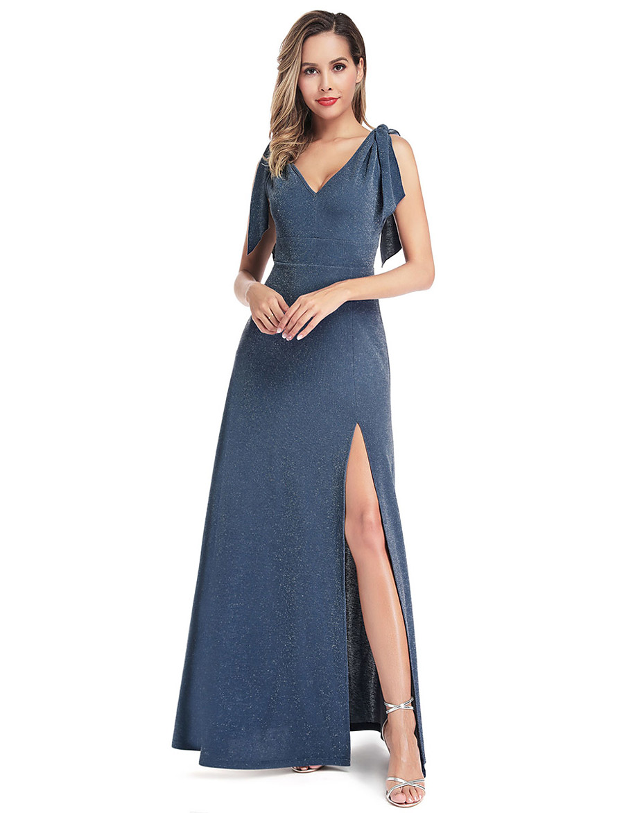 Women's Formal Evening A Line Dress - Solid Colored Dusty Blue S M L XL