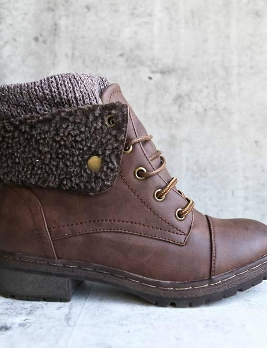 Women's Boots Snow Boots Flat Heel Round Toe Suede Booties / Ankle Boots Fall & Winter Black / Brown / Yellow