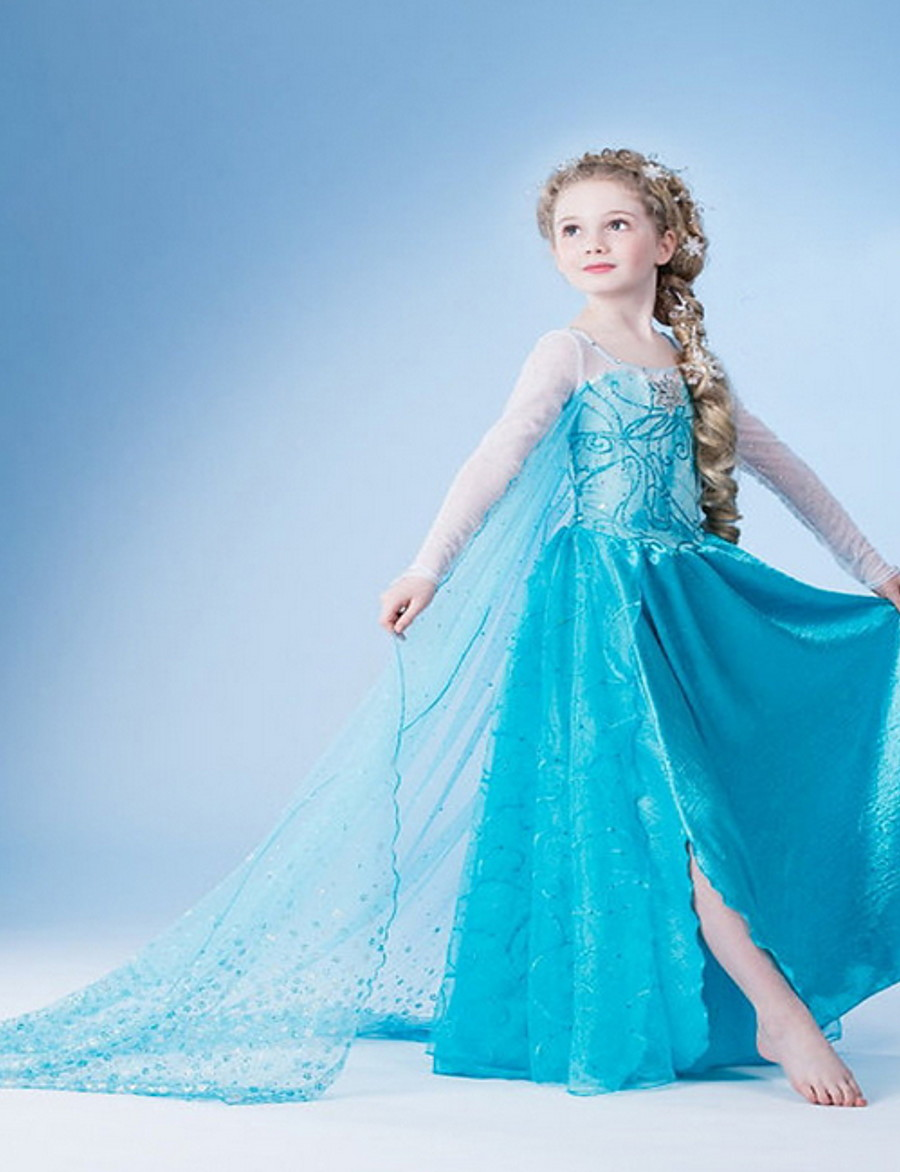 Kids Little Girls' Dress Solid Colored Snowflake Flower Party Birthday Pegeant Light Blue Cosplay Princess Dresses Easter