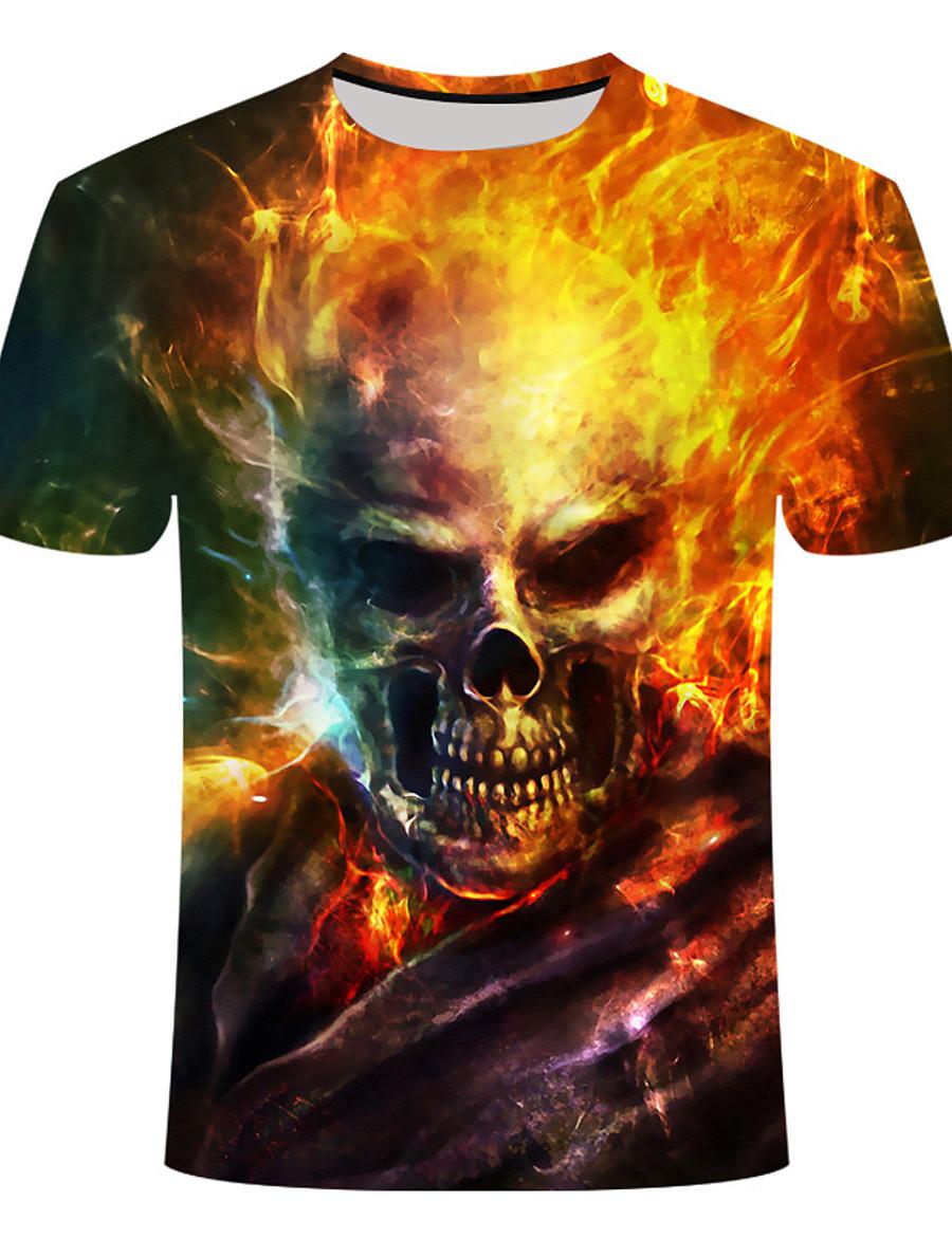 Men's T shirt Shirt Graphic 3D Skull Plus Size Short Sleeve Daily Tops Round Neck Rainbow