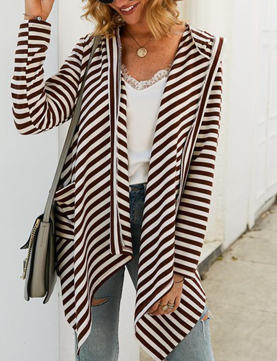 Women's Striped Long Sleeve Loose Cardigan Sweater Jumper, Shawl Yellow / Blue / Gray S / M / L