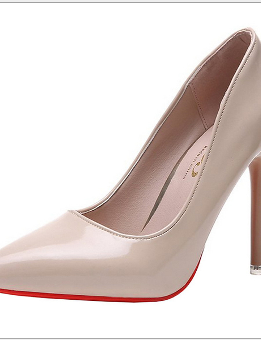 Women's Heels Stiletto Heel Pointed Toe Daily Rubber PU Almond / Black / Red