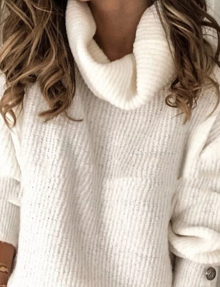Women's Solid Colored Pullover Long Sleeve Oversized Sweater Cardigans Rolled collar White Light Blue