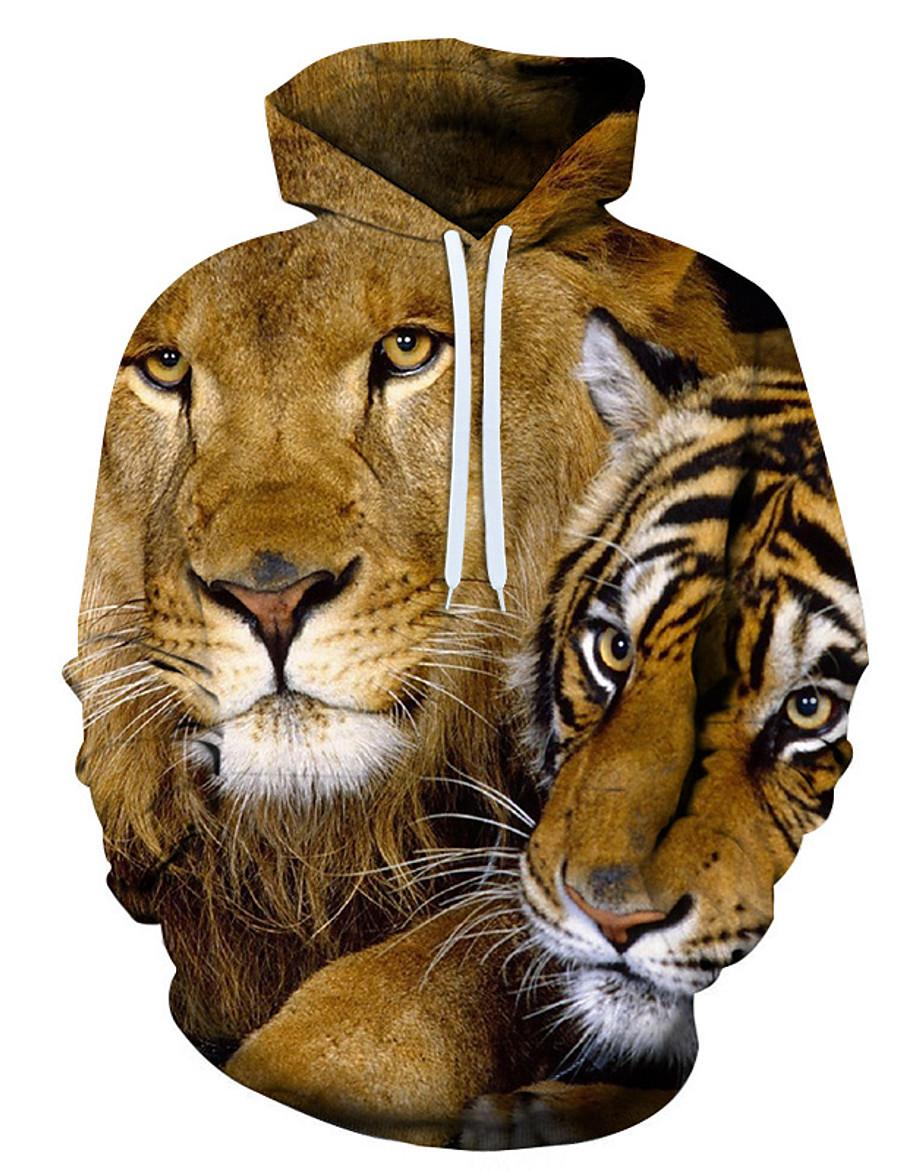 Men's Pullover Hoodie Sweatshirt Graphic 3D Animal 2 Piece Front Pocket Hooded Daily Going out 3D Print 3D Print Casual Hoodies Sweatshirts  Long Sleeve Brown