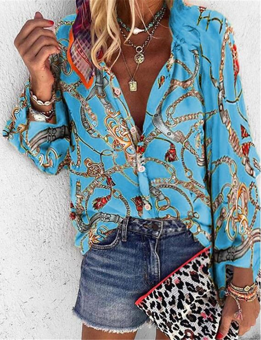 Women's Daily Loose Shirt - Tribal Shirt Collar Purple