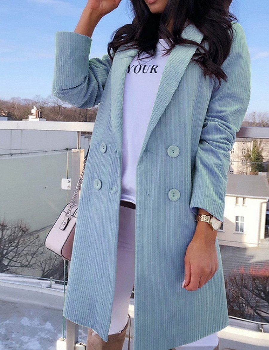 Women's Coat Daily Fall & Winter Long Coat V Neck Regular Fit Jacket Long Sleeve Solid Colored Yellow Blushing Pink