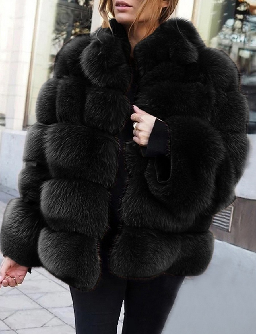 Women's Stand Collar Faux Fur Coat Long Solid Colored Daily White Black Blushing Pink Khaki S M L XL