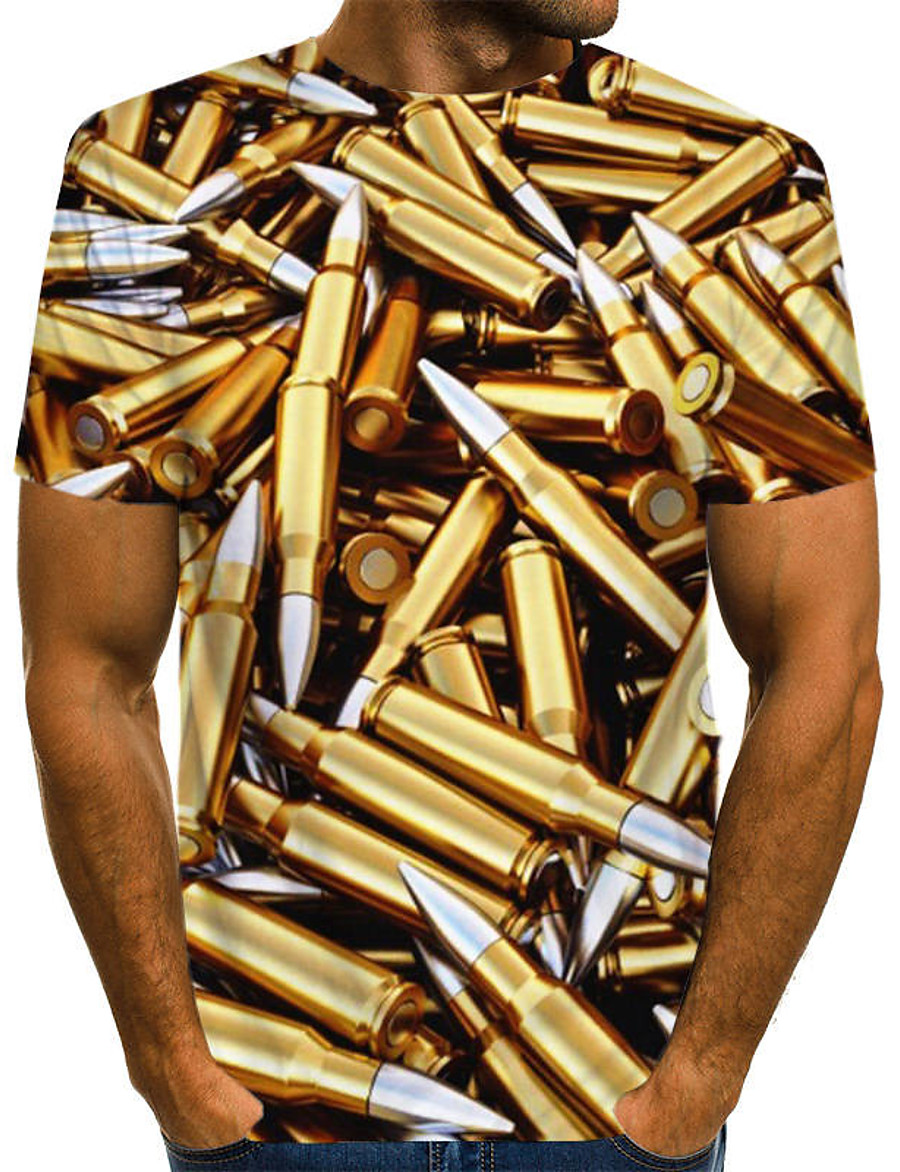 Men's T shirt Shirt Graphic Machine Plus Size Print Short Sleeve Daily Tops Basic Round Neck Gold / Summer