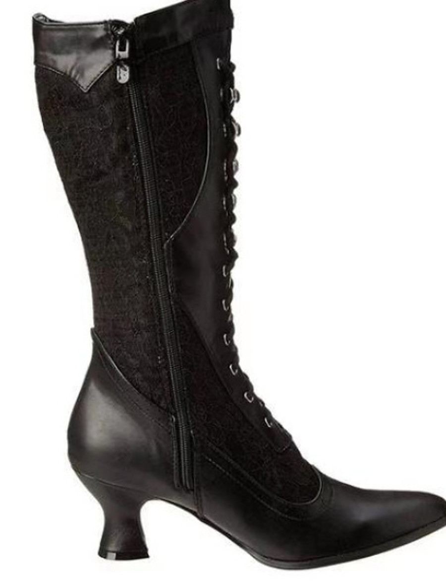 Women's Boots Comfort Shoes Low Heel Round Toe PU Mid-Calf Boots Winter Black / White