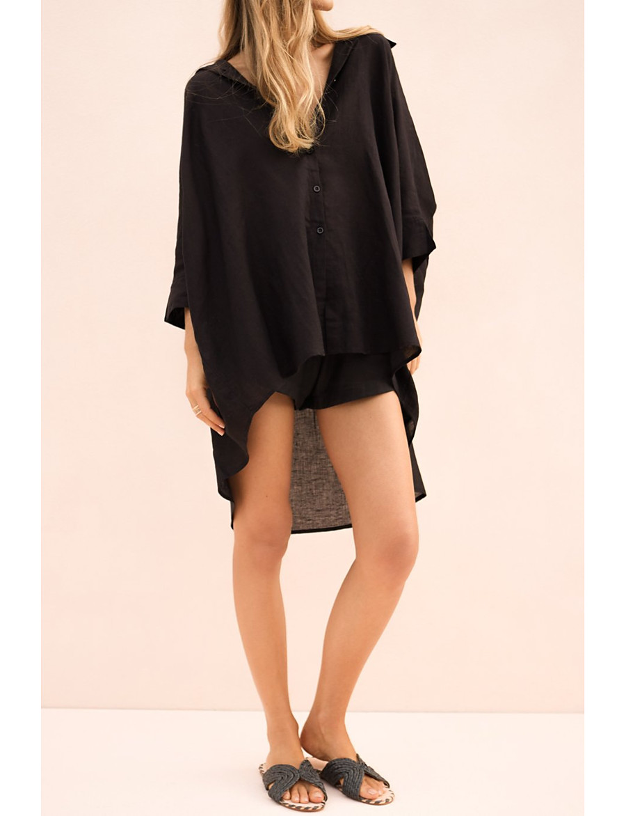 Women's Daily Basic Tunic - Solid Colored Black