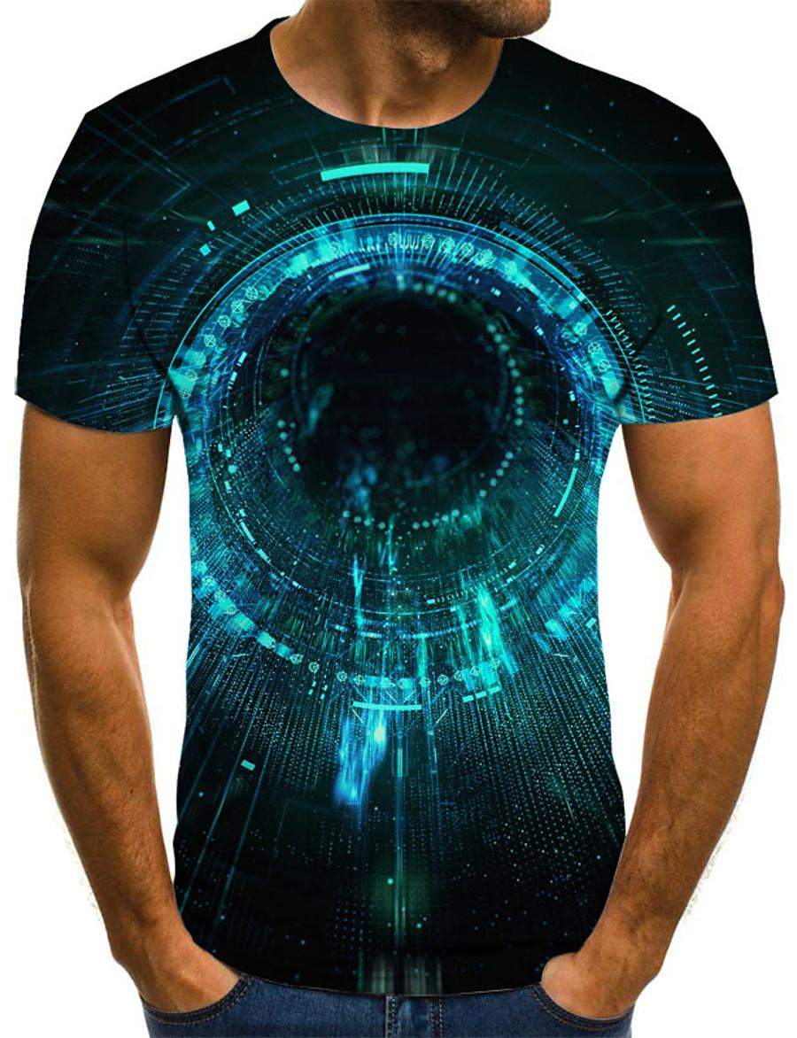 Men's T shirt Galaxy Color Block 3D Print Short Sleeve Holiday Tops Streetwear Punk & Gothic Green