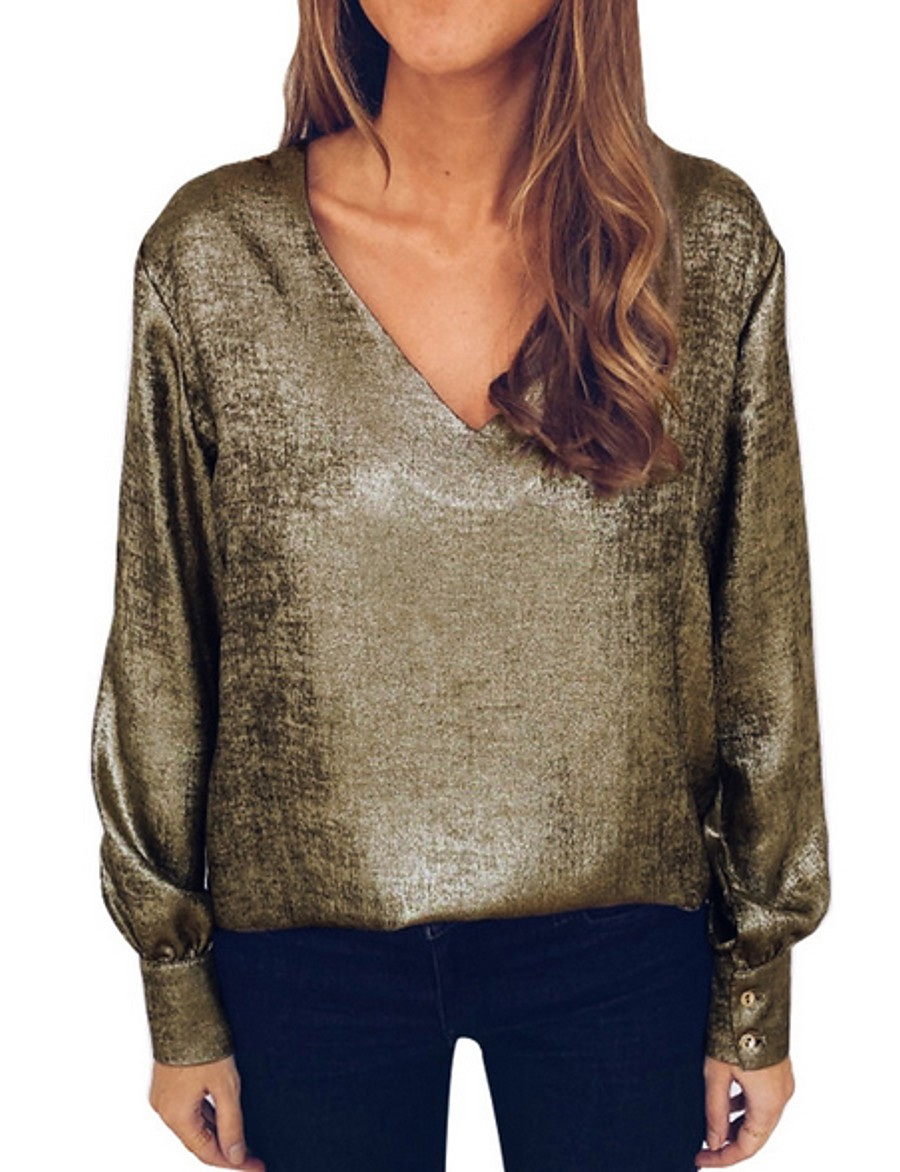 Women's Solid Colored T-shirt Daily V Neck Gold