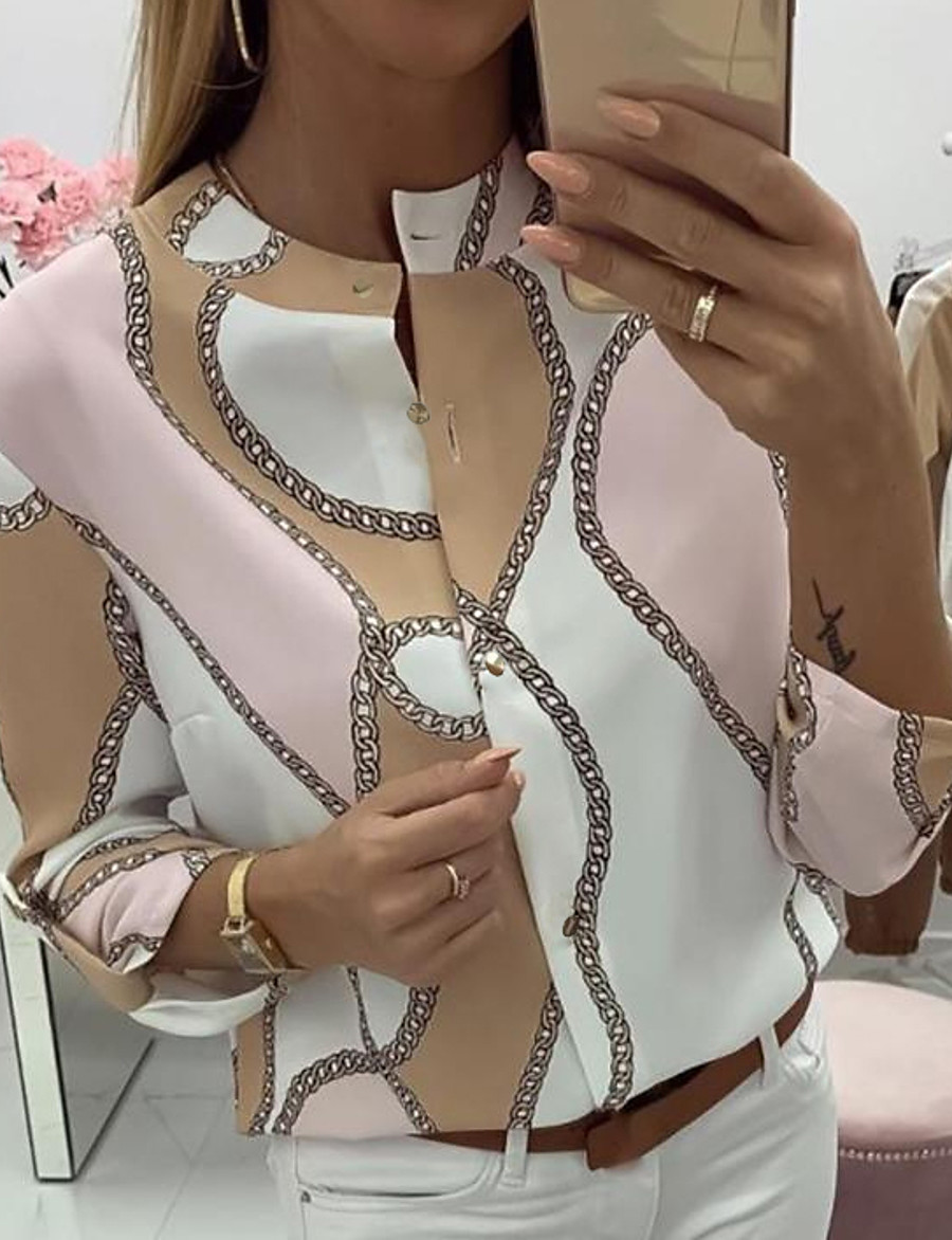 Women's Daily Blouse - Geometric Blushing Pink