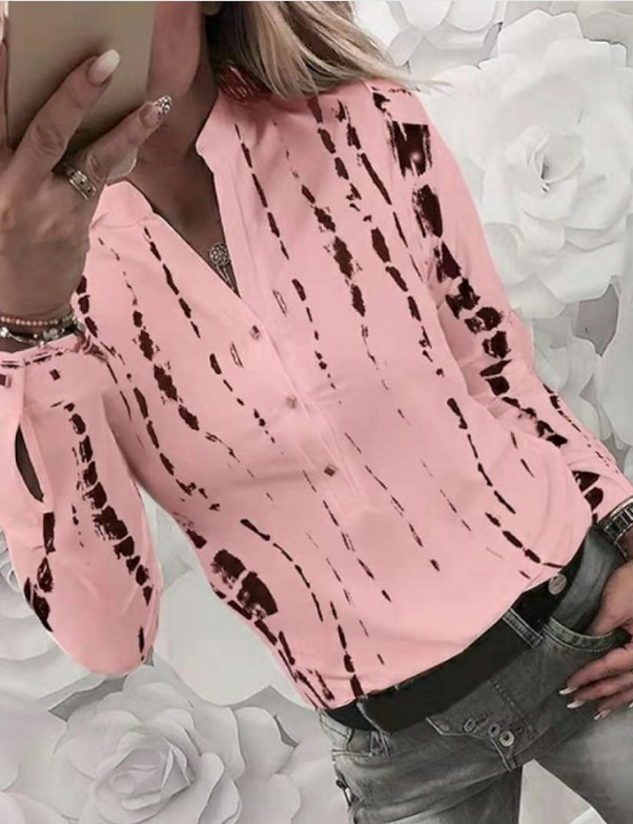 Women's Daily Basic Shirt - Striped / Geometric Shirt Collar White