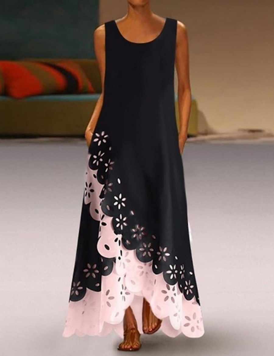 Women's A-Line Dress Maxi long Dress - Sleeveless Floral Hole Summer U Neck Casual 2020 White Purple Blushing Pink Gold Light Blue S M L XL XXL XXXL XXXXL XXXXXL