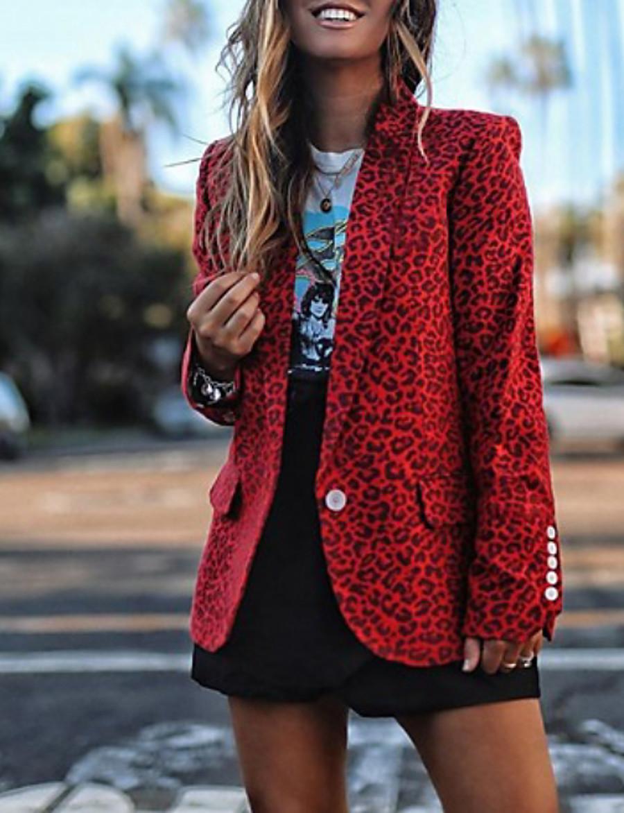 Women's Notch lapel collar Blazer Leopard Red / Yellow / Gray S / M / L