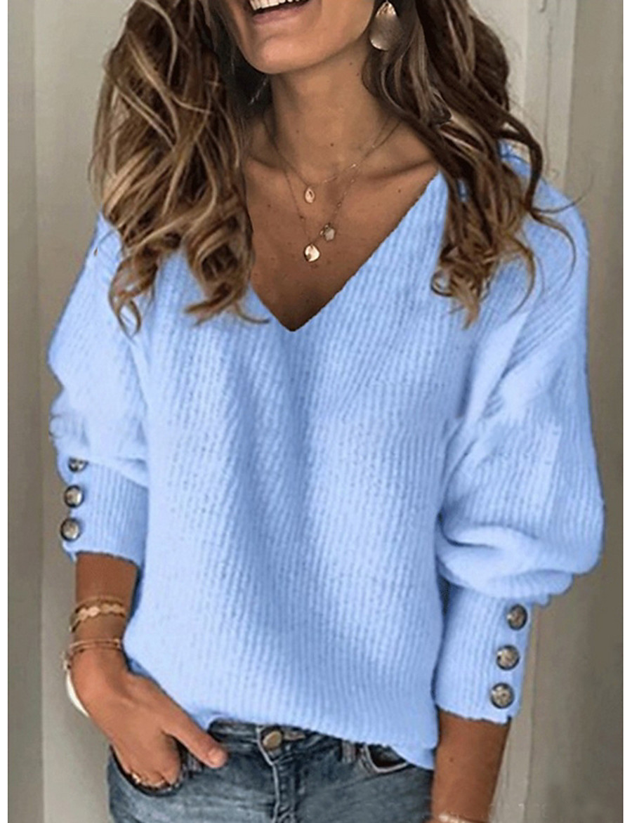 Women's Solid Colored Pullover Long Sleeve Sweater Cardigans V Neck Blue Red Gray