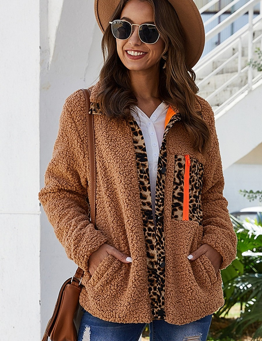 Women's Daily Fall & Winter Regular Faux Fur Coat, Solid Colored Turndown Long Sleeve Polyester Black / White / Camel