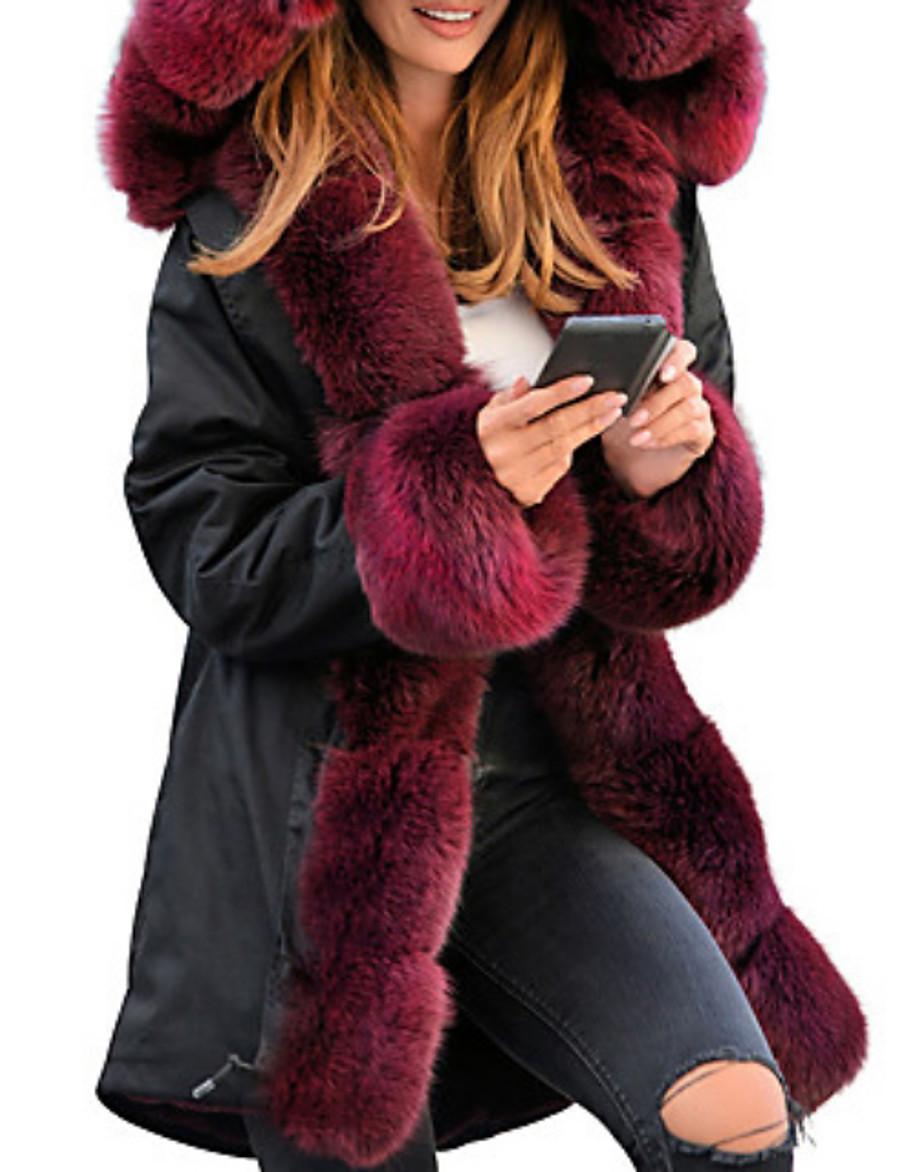 Women's Winter Faux Fur Coat Long Solid Colored Daily Black Wine Camel S M L