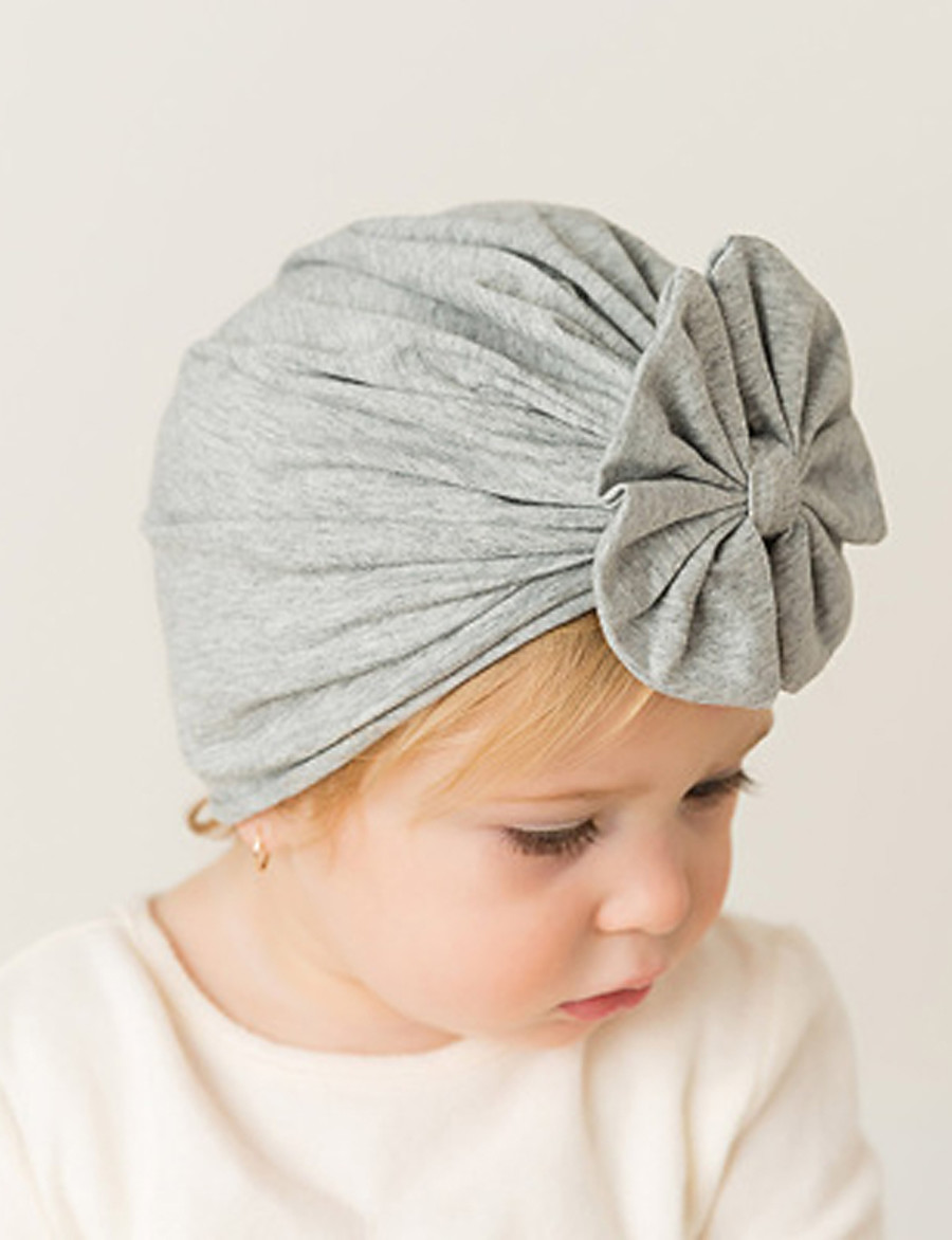Toddler / Infant Unisex Active / Sweet / Boho Solid Colored Bow Cotton Hats & Caps Black / White / Blushing Pink One-Size