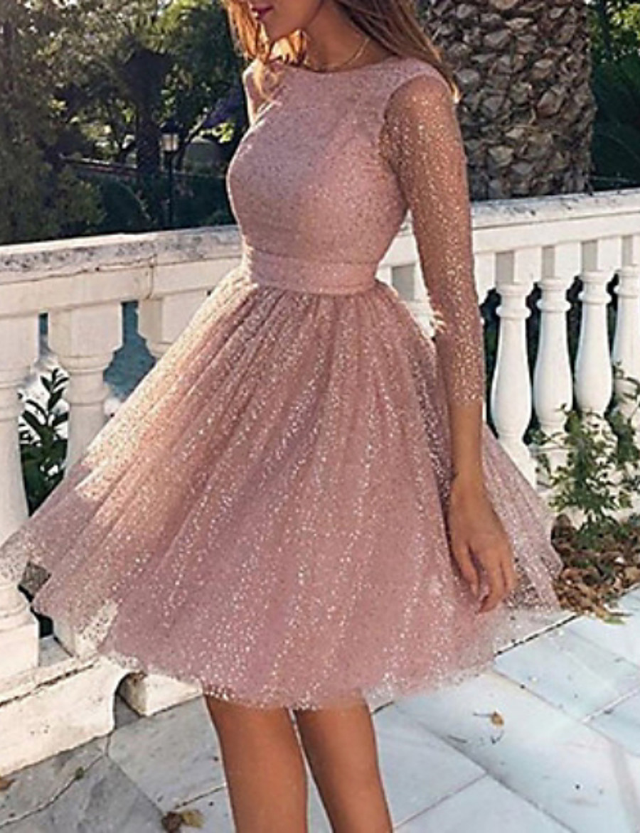 Women's Skater Short Mini Dress - Long Sleeve Solid Colored Backless Glitter Spring Summer Sexy Cocktail Party Going out Birthday 2020 Blushing Pink S M L XL XXL