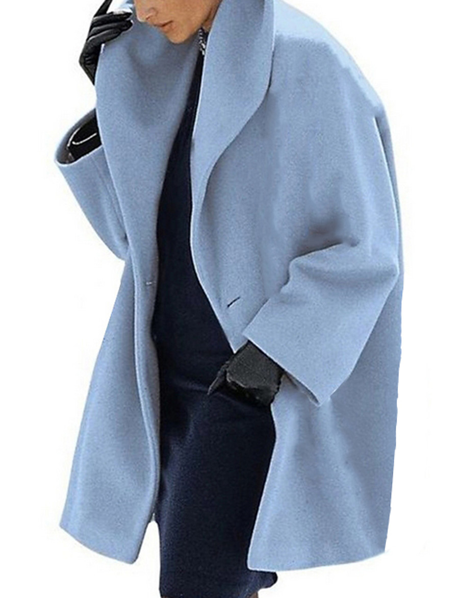 Women's Coat Daily Long Solid Colored Black / Brown / Light Blue S / M / L