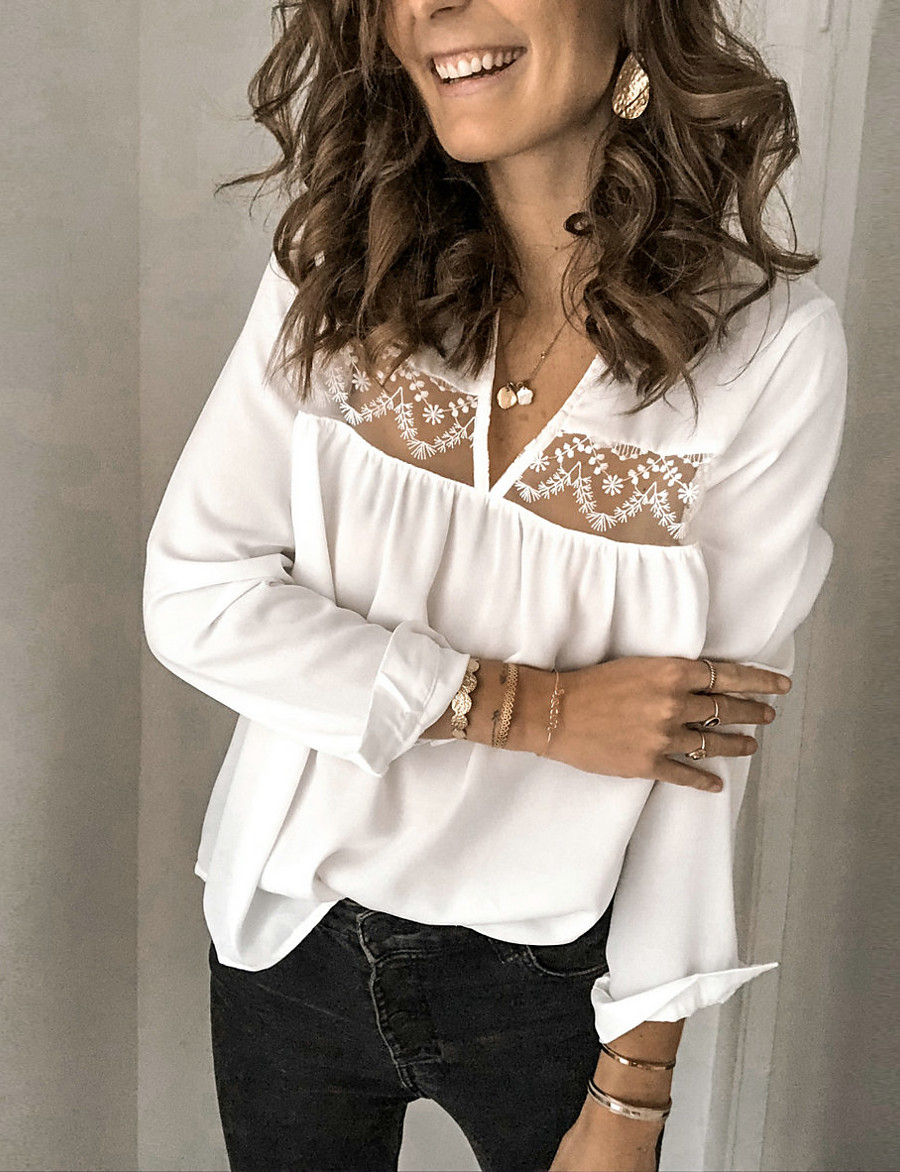 Women's Daily Basic Blouse - Solid Colored Lace Black