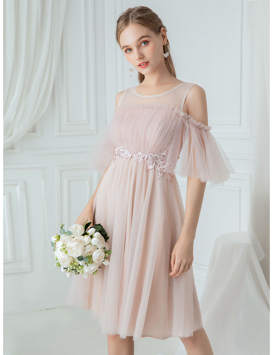 A-Line Jewel Neck Knee Length Polyester / Lace / Tulle Bridesmaid Dress with Draping / Lace / Illusion Sleeve