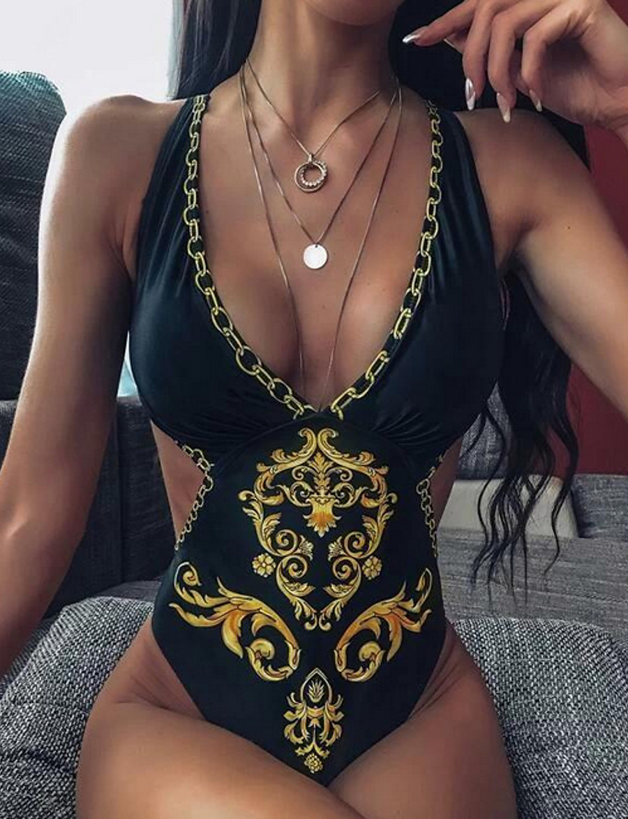 Women's Sexy One Piece Swimsuit Geometric Criss Cross Cut Out V Neck Swimwear Bathing Suits Black Yellow / Padded Bras