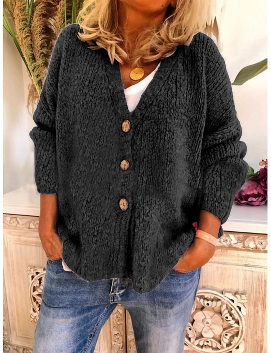 Women's Solid Colored Cardigan Long Sleeve Sweater Cardigans V Neck Black Purple Wine