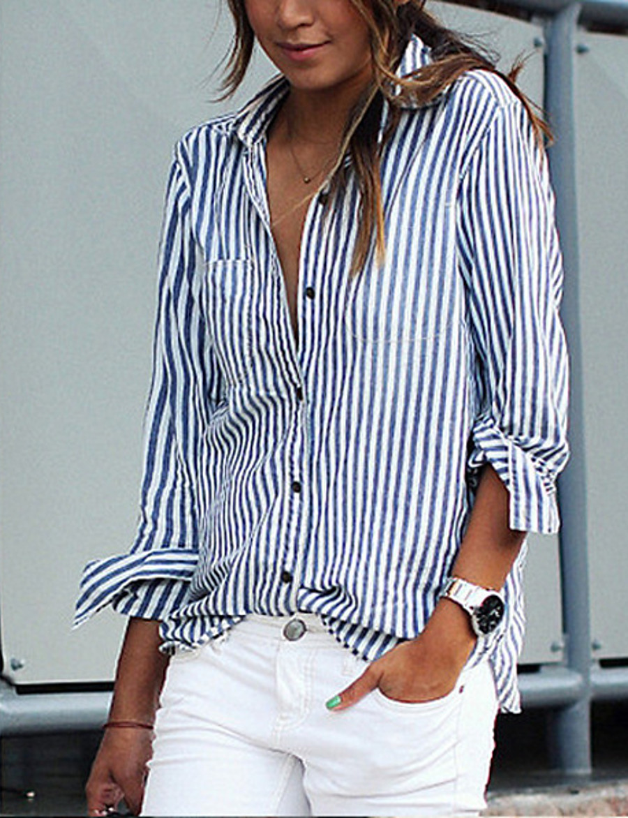 Women's Daily Basic Shirt - Striped Blue & White, Patchwork Blue