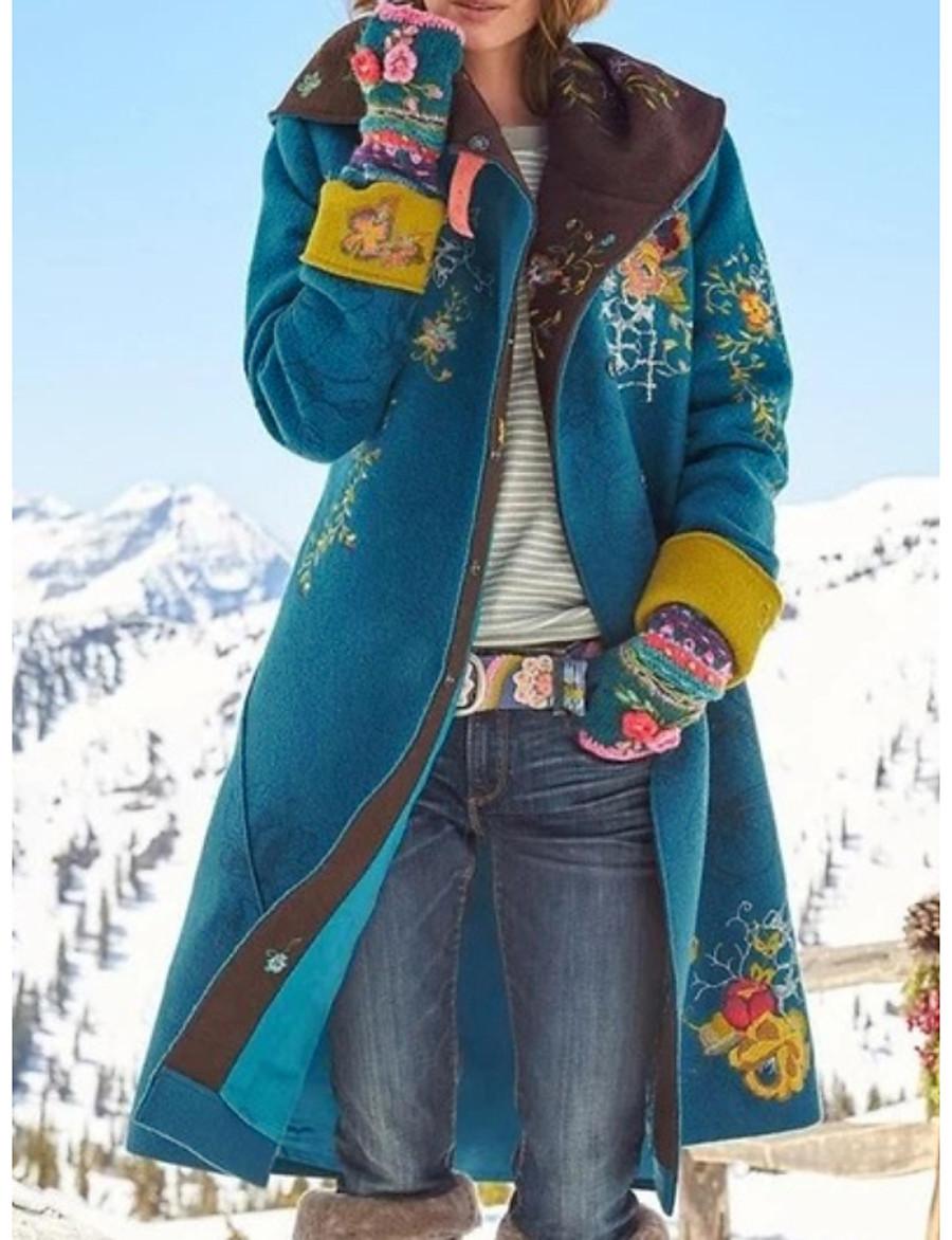 Women's Daily Basic Winter Long Coat, Plants Turndown Long Sleeve Polyester Wine / Brown / Green