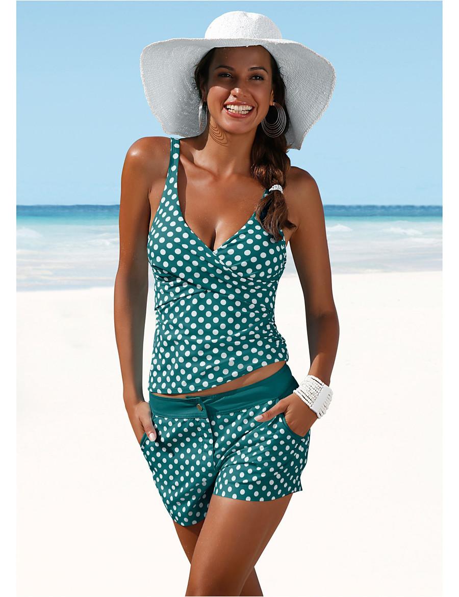 Women's Black White Navy Blue Bikini Swimwear Swimsuit - Polka Dot S M L Black