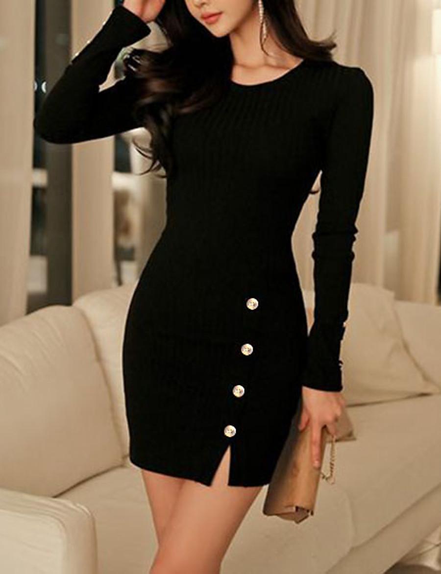 Women's Sheath Dress - Long Sleeve Solid Colored Split Button Basic Wine Black Blue Gray S M L XL XXL XXXL