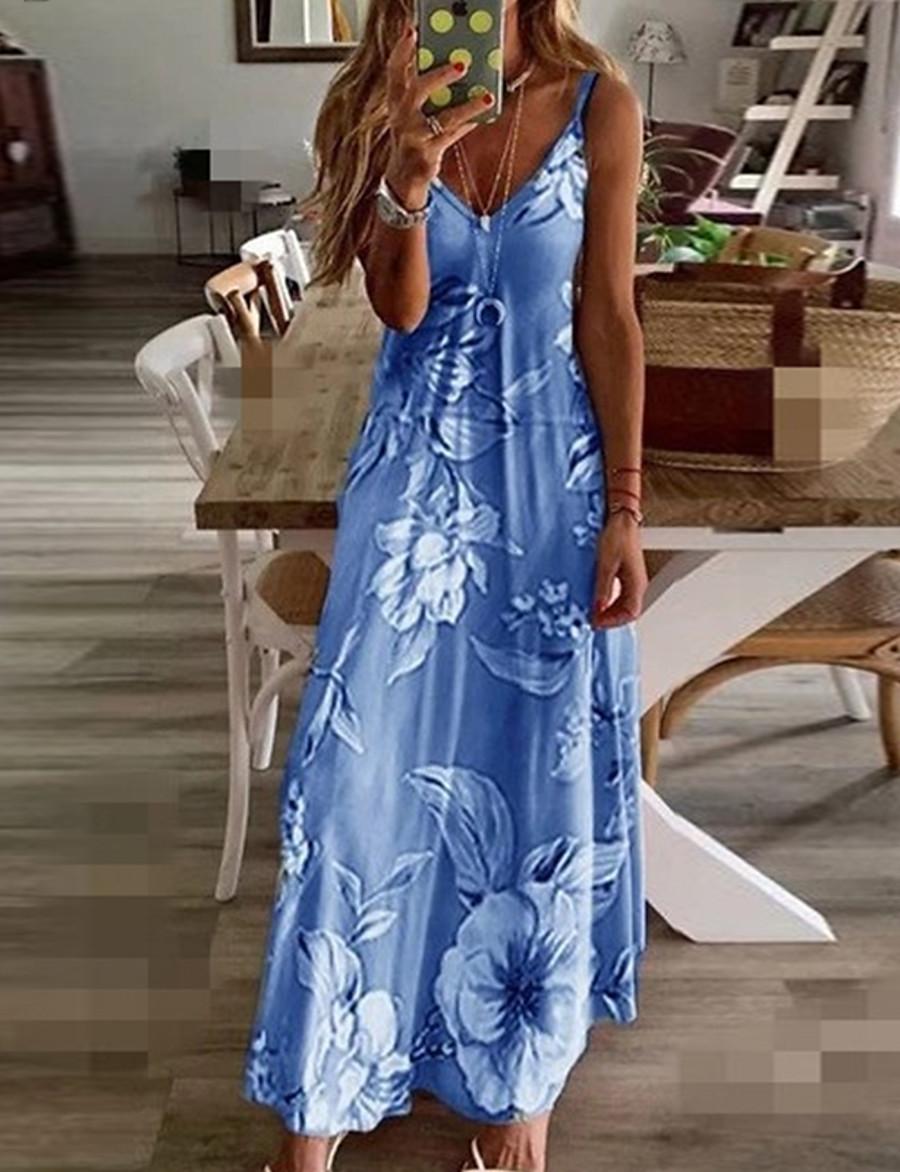 Women's Maxi Bodycon Dress - Sleeveless Geometric Print Spring & Summer Strap Elegant Street chic Going out Casual / Daily Loose 2020 Blue Purple Blushing Pink Fuchsia Green Gray S M L XL XXL XXXL