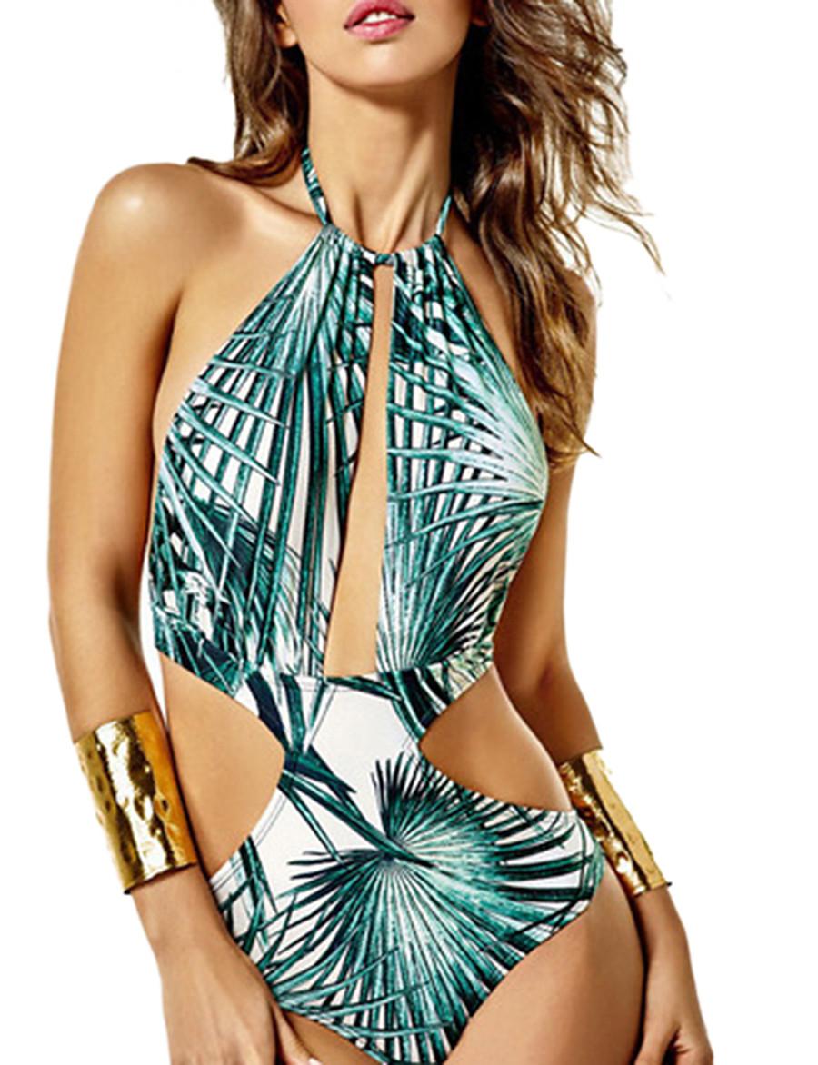 Women's Basic Halter Cheeky One-piece Swimwear Swimsuit - Floral Print S M L Blue