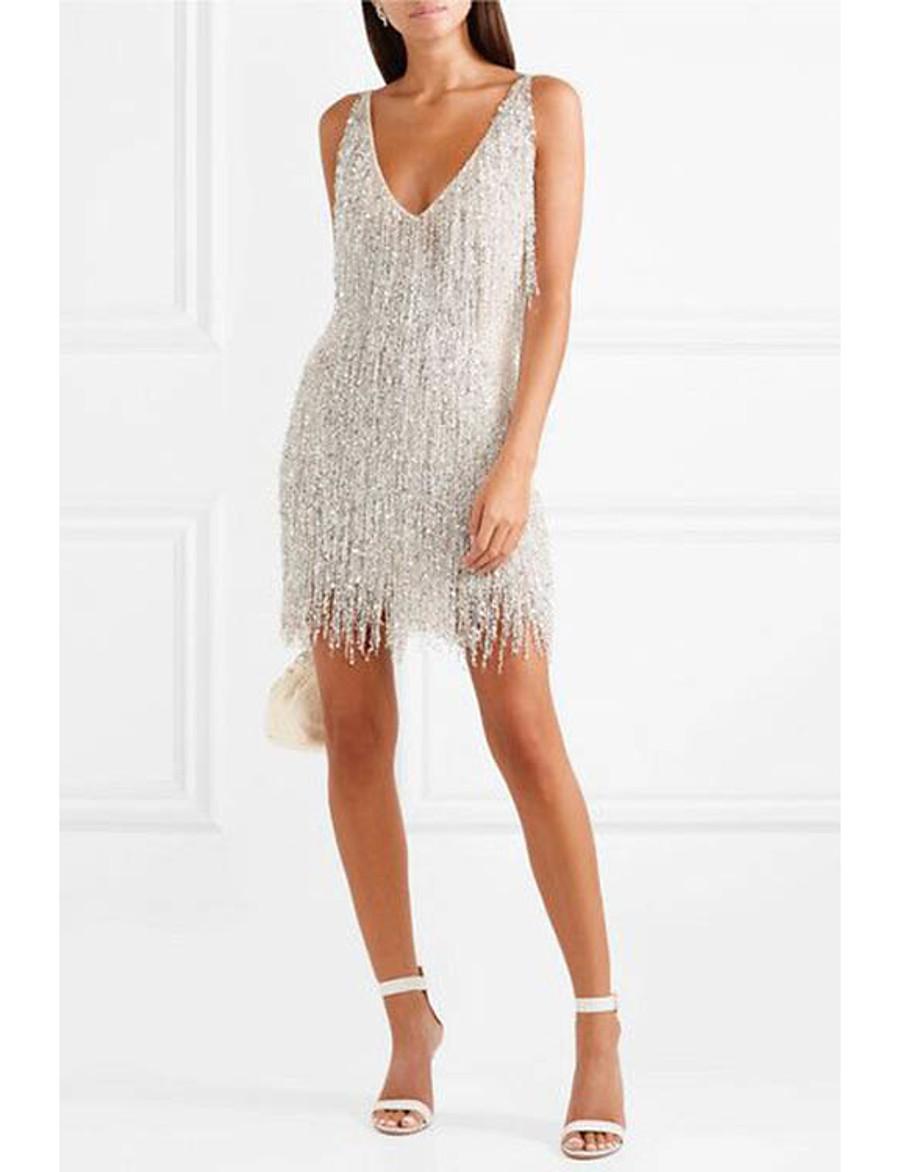 Women's Silver Dress Sheath Solid Colored Strap S M Slim