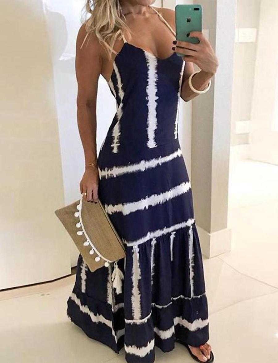 Women's Swing Dress Sleeveless Striped Color Block Cut Out Patchwork Spring & Summer Strap Plus Size Elegant Streetwear Cotton 2020 Red Yellow Royal Blue S M L XL XXL 3XL 4XL 5XL / Maxi
