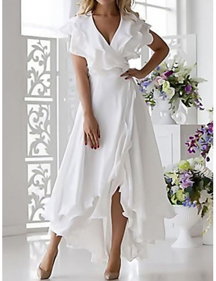 Women's Plus Size Wrap Dress - Sleeveless Ruffle Wrap Multi Layer Summer Deep V Sexy Holiday Vacation Beach 2020 White Dark Blue S M L XL XXL XXXL XXXXL XXXXXL