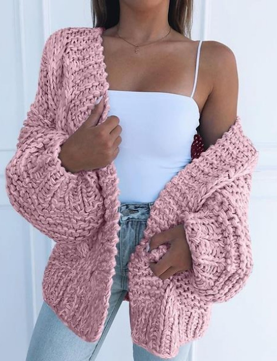 Women's Solid Colored Long Sleeve Loose Cardigan Sweater Jumper, V Neck Black / Blushing Pink / Brown S / M / L